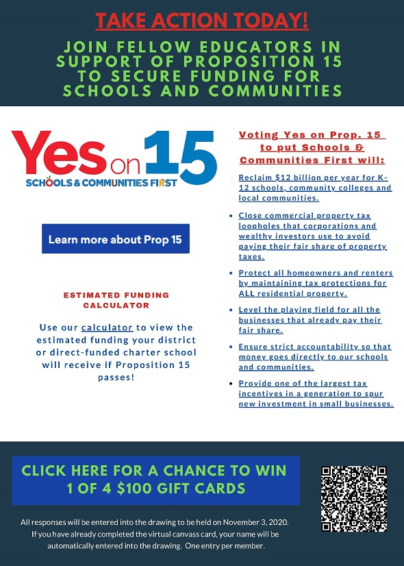 Take Action - Join Fellow Educators in Support of Prop. 15
